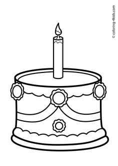 Cake Birthday Party Coloring Pages - (for 2 years) coloring pages for kids 2 Year Old Birthday Cake, Birthday Cale, Happy 2nd Birthday, Birthday Parties, Food Coloring Pages, Printable Coloring Pages, Coloring Pages For Kids, Coloring Books, Adult Coloring