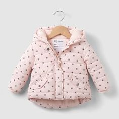 Star Print Fleece-Lined Padded Jacket, 1 Month-3 Years R essentiel - Baby Girls Clothing