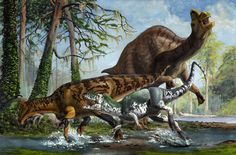Predatory dinosaurs usually took advantage of any opportunity to feed. Not all attempts to hunt were successful, as seen in this failed attack; for the carnivore each failed attempt was a learning experience and wisdom eventually trumped speed and power for a solitary hunter,  pictureprehi by Sergey Krasovskiy, ~atrox1 on deviantART