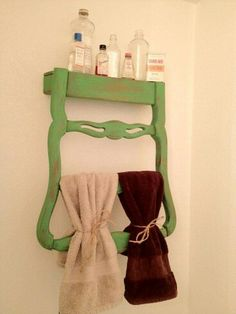 Old chairs converted to a towel rack
