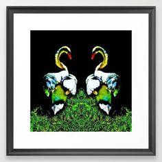 Swans Couple White Black Framed Art Print, photography digital other color vintage black-&-white swan ,swans ,nature ,animals ,birds ,wildlive ,white ,black vector, illustration,animal,nature,plant,art,images,pictures,