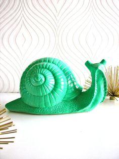 Giant Snail Statue Snelly the Snail in pistachio by mahzerandvee, $38.00