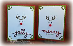 Christmas Cards for Onstage Swap (Nov '15), using Wonderland stamp set and Christmas Greetings Thinlits, and Curvy Corner trio punch from Stampin' Up!
