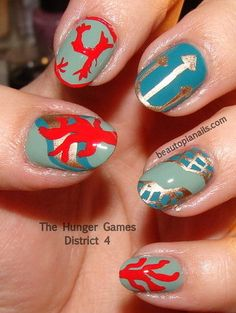 The Hunger Games District 4 inspired nails