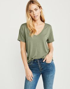 V-Neck Drapey Tee, OLIVE GREEN, fashion trends, spring style, Abercrombie #ad