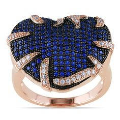 Miadora Rose Plated Silver Blue and White Cubic Zirconia Heart Ring