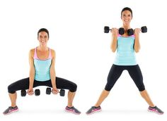 Game-Changing Exercises That'll Transform Your Thighs Sumo squat with biceps curl.Thunder Thighs No More: 58 Must-Try Toning MovesSumo squat with biceps curl.Thunder Thighs No More: 58 Must-Try Toning Moves Skinny Mom, Fitness Inspiration, Tone Inner Thighs, Squat Variations, Lean Legs, Sumo Squats, Fitness Workout For Women, Fitness Gear, Thunder Thighs
