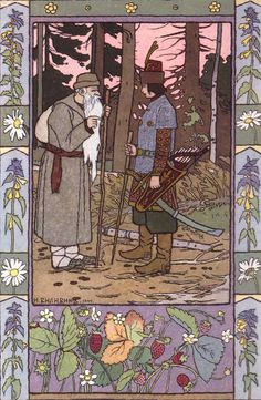 """Ivan Bilibin, illustration from a fairy tale """"The Frog Princess"""". Family Tree Art, Russian Folk Art, Unique Drawings, Ligne Claire, Fairytale Art, Wow Art, Children's Book Illustration, Book Illustrations, Les Oeuvres"""