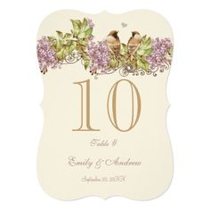 Lavender Lilac Love Bird Wedding Table Number Card