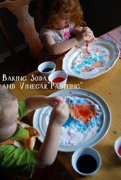 "rainy day fun with baking soda and vinegar ""painting"" 