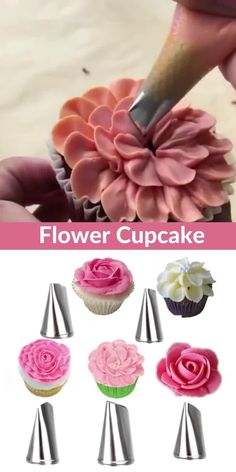 Cupcake Frosting Techniques, Cake Piping Techniques, Buttercream Cake Designs, Cake Decorating Frosting, Cake Decorating Designs, Cake Decorating Videos, Cake Decorating Techniques, Fondant Cake Designs, Cupcakes Flores