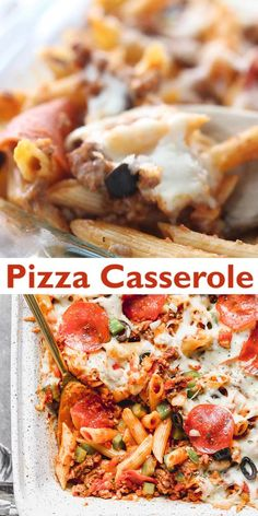 Transform your favorite loaded pizza into a delicious Pizza Casserole thats baked in a 913 pan. This crowd pleaser includes tender penne pasta browned meat pepperoni olives bell peppers and cheese smothered in marinara sauce. Baked Penne Pasta, Pizza Pasta Bake, Penne Pasta Recipes, Pizza Casserole, Easy Casserole Recipes, Pizza Recipes, Beef Recipes, Cooking Recipes, Pizza And Pasta