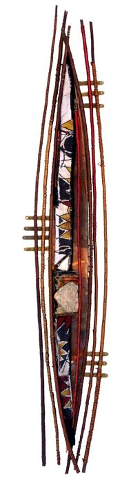 "Alice VanderVennen, assemblage art: SOLO, Description: 18"" x 50""; textiles (found, embellished, hand-embroidered), willow branch, copper, organ parts, stone"