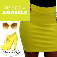 O #amarelo é uma cor que contribui para a felicidade. É uma cor brilhante, alegre, que simboliza o luxo. #moda #santabellezza #fashion   http://santabellezza.com.br/loja/saia/curtas/saia-bandage-486.html