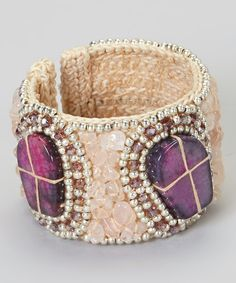 Another great find on #zulily! Cream & Amethyst Stone Bracelet by PANNEE JEWELRY #zulilyfinds