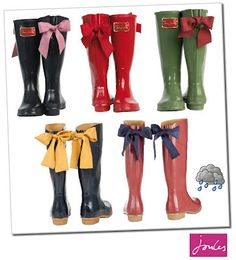 Rain boots, Rain and Bows on Pinterest