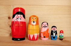 Definitely a joy to have around at your desk or in your house; babushka dolls that are hand painted by swedish illustrator Ingela P Arrhenius.    Available in 2 designs, the circus trainer series + the animal series.