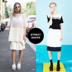 THE WHITEPEPPER Inspirations - Street Snaps.Perfect pleats on the street.Crop Sailor Top, Flat Pleat Midi Skirt, Tassel Fringe Flatform  Get social with us! Like us on Facebook and Follow us on Instagram