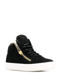 Black Frankie hi-top sneakers, featuring a ridged rubber sole, an ankle length, a round toe, a lace-up front fastening and zip details. Giuseppe Zanotti Sneakers, Rene Caovilla, Shoe Boutique, Luxury Shoes, Ankle Length, High Top Sneakers, Lace Up, Shoe Bag, Leather