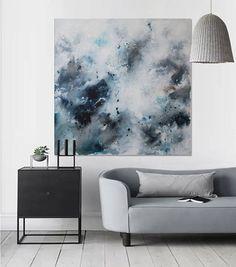 large seascape original painting square minimalist wall modern