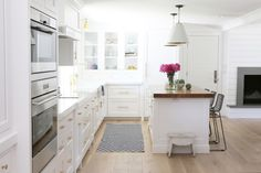 White and brass kitchen remodel by Studio McGee chantilly lace
