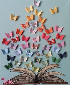 Cool butterflies display for origami unit...