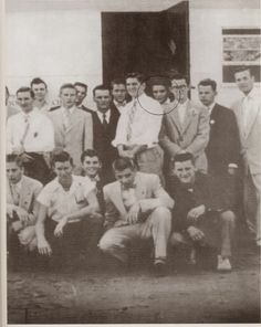 Elvis in a youth group photo taken with his Lauderdale Courts group, 1954 and Dorsey Burnette on the left