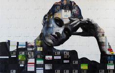 Cool Portraits Made From Floppy Disks