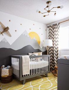 Dormitorio de bebé con diseño tribal. Mural en Pared