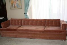Ok another find in SD... But $85?? Imagine this baby reupholstered! Retro Hollywood Regency tufted sofa