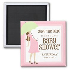 Attractive Pink Baby Shower Save The Date Fridge Magnet