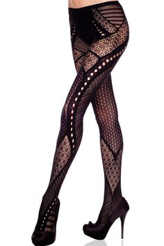 d0956dddbf2c5 Black Hollow Out Pattern Pantyhose Fishnet Stockings Tights One Size Mix  Design | eBay Black Patterned