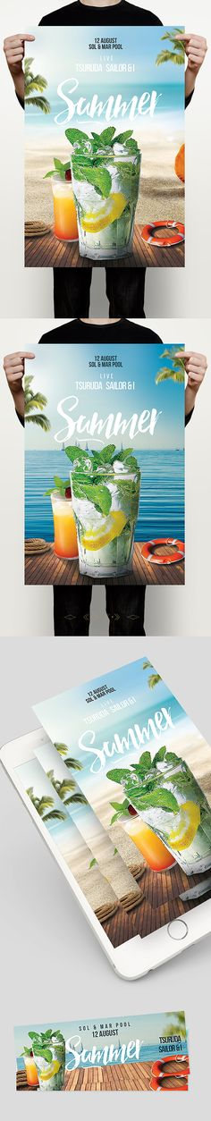 Pool Party Flyer – This flyer / poster can be used to host a beach party, dj event, bar outdoor, summer party, tropical island theme party, or anything that has to do with land, water and sun. It is a light flyer with summer drinks on focus, mojito and se…