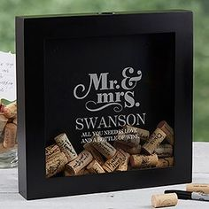 Choose this The Happy Couple Personalized Wine Cork Shadow Box, perfect for any home bar, or a unique wedding guest book. Titles and last name will be custom etched along with any verse or wedding date for a memorable gift idea. Wine Cork Wedding, Gift Table Wedding, Wedding Gifts For Bride And Groom, Wedding Gifts For Guests, Wedding Gifts For Couples, Personalized Wedding Gifts, Wedding Guest Book, Wedding Ideas, Trendy Wedding