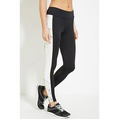 Forever 21 Women's  Active Marble Print Leggings ($25) via Polyvore featuring activewear, activewear pants, athletic sportswear, forever 21 and forever 21 activewear