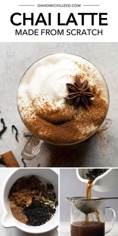 This decadent chai latte from Oh, How Civilized is perfect for drinking this fall and winter. This warm and decadent tea drink is perfectly spiced and so perfect for enjoying during the cooler months. Perfectly sweet and creamy, this chai latte is a decadent tea treat anytime. #chai #chaitea #tealatte #chailatte Iced Tea Recipes, Drinks Alcohol Recipes, Sweet Recipes, Drink Recipes, Iced Chai Latte Recipe, Chai Recipe, Smoothie Drinks, Smoothies, Cooking Challenge