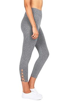 b9fd7084a6efe Ambiance Womens Stretchy Capri Leggings w Criss Cut Design L Heather  Charcoal >>> You can get more details by clicking on the image.