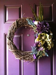 Purple and Green Wreath I made
