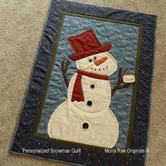 Personalized Snowman Quilt  Wall Hanging by MROriginals on Etsy, $130.00