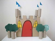 Here's a lovely Recycled Castle craft project I latched onto…all you need is a small cardboard box, toilet rolls, coloured paper and straws