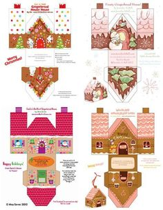 free printable paper gingerbread houses to make - Miniature Christmas Z Christmas Gingerbread, Christmas Fun, Christmas Decorations, Gingerbread Houses, Christmas Ornaments, Xmas, Putz Houses, Christmas Boxes, Christmas Nativity