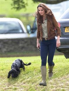 Catherine, Duchess of Cambridge, the former Kate Middleton, walks her dog Lupo at Beaufort Polo Club in Gloucestershire, England.