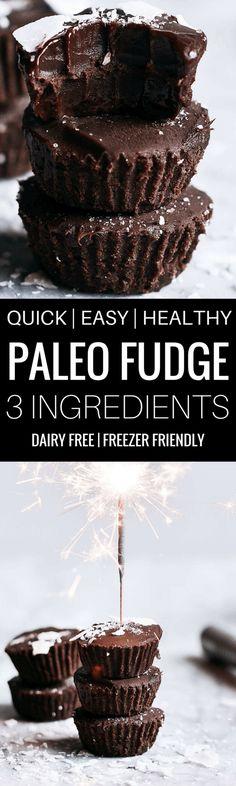 3 ingredient quick and healthy paleo fudge recipe | Paleo fudge. Best paleo fudge recipe. Best dairy free fudge recipe. Easy fudge recipe Easy chocolate fudge. Paleo dessert ideas. Best paleo snacks. #paleo #chocolate