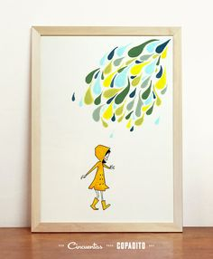 Little yellow raincoat Art Drawing Print Poster Girl and Colored Drops Mid Century Wall Hanging Cute Illustration Room Decor A4 8.3×11.7 in on Etsy, $17.98
