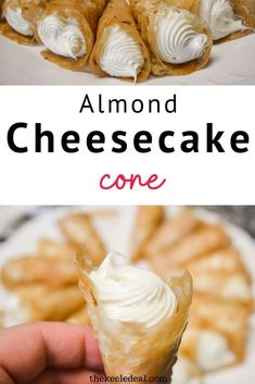 Almond Cheesecake Cones are a fun mini cheesecake with a hard toffee cone filled with a delicious creamy no bake cheesecake filling. Almond Cheesecake Cone Recipe, No Bake Cheesecake Filling, Dessert Recipes, Desserts, Family Christmas, Toffee, Food Hacks, Sweet Treats, Thanksgiving