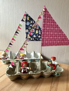 Egg boat sailboat / sailing ship # craft projects for spring egg carton … Craft Activities For Kids, Toddler Activities, Projects For Kids, Diy For Kids, Craft Projects, Literacy Activities, Craft Ideas, Crafts To Do, Easy Crafts
