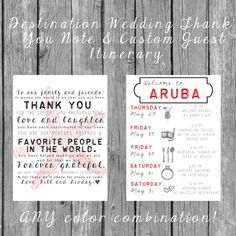 Destination Wedding Welcome Bag Letters AND Guest Itinerary/Timeline of Events!