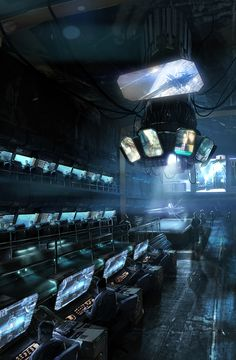 Command center, computer consoles, displays, space station, war room  'E.D.G.E Primary Command Centre' by Adam Burn