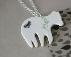 Porcelain and sterling silver necklace - Whimsical polar bear