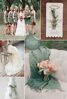 chic rustic sage green wedding color ideas. (other green shades featured-mint, olive, grayed jade, emerald)